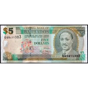 Барбадос 5 долларов 2007 - UNC