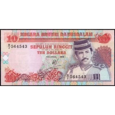 Бруней 10 долларов 1989 - UNC