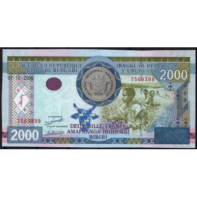 Бурунди 2000 франков 2008 - UNC