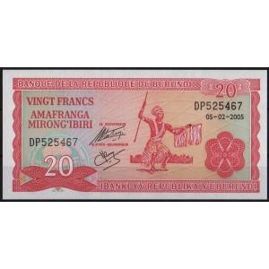 Бурунди 20 франков 2005 - UNC