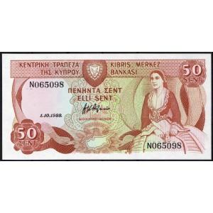 Кипр 50 центов 1988 - UNC