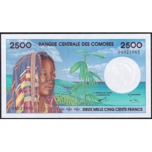 Коморские острова 2500 франков 1997 - UNC