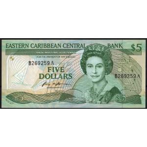 Восточно-Карибские острова 5 долларов 1986 - UNC