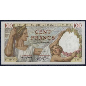 Франция 100 франков 1940 - UNC