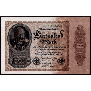 Германия 1000 марок 1922 - UNC