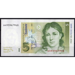 Германия 5 марок 1991 - UNC