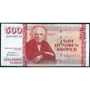 Исландия 500 крон 2001 - UNC