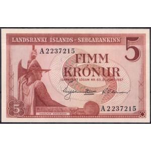 Исландия 5 крон 1957 - UNC