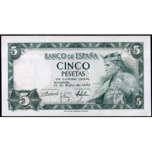 Испания 5 песет 1954 - AUNC
