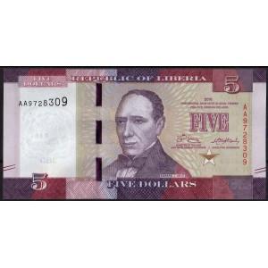 Либерия 5 долларов 2016 - UNC