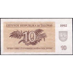 Литва 10 талонов 1992 - UNC