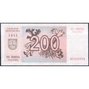Литва 200 талонов 1993 - UNC