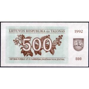 Литва 500 талонов 1992 - UNC