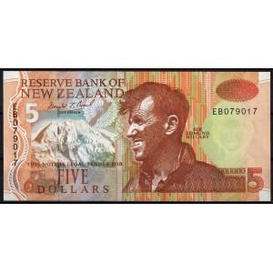 Новая Зеландия 5 долларов 1992 - UNC