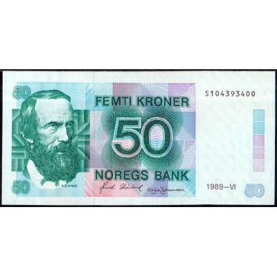 Норвегия 50 крон 1989 - AUNC
