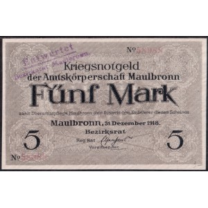Маульбронн 5 марок 1918 - UNC