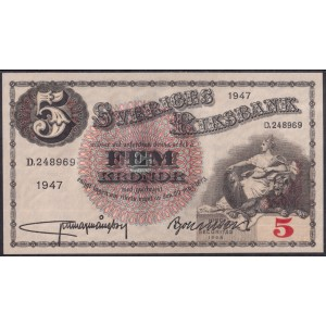 Швеция 5 крон 1947 - UNC