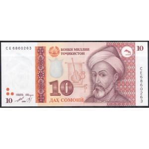 Таджикистан 10 сомони 1999 - UNC