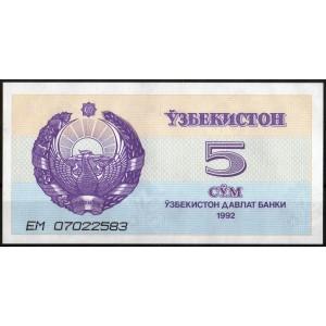Узбекистан 5 сумов 1992 - UNC