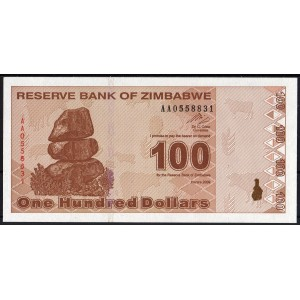 Зимбабве 100 долларов 2009 - UNC