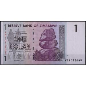 Зимбабве 1 доллар 2007 - UNC