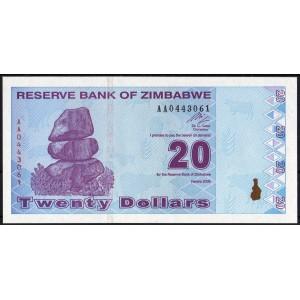 Зимбабве 20 долларов 2009 - UNC