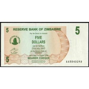 Зимбабве 5 долларов 2007 - UNC