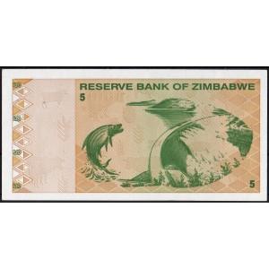 Зимбабве 5 долларов 2009 - UNC